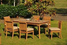 """DSGV Grade-A Teak 7pc Dining 71"""" Rectangle Table 6 Armless Chair Set Outdoor New"""