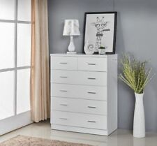 High Gloss White Wooden Tallboy 6 Drawer With Handle Cabinet Classic Look 4017WH