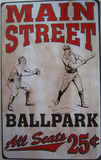 Main Street Baseball Ballpark Sports Vintage Rustic Metal Sign