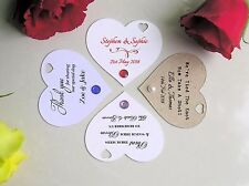 100 Personalised Printed Love Heart Wedding Favour Tags W/Ribbon Diamante /Pearl