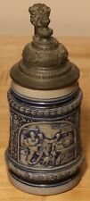 Tavern Scene with Saying by J.W. Remy 1/2 L German beer stein - Antique # 112