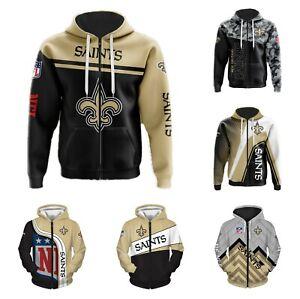New Orleans Saints Fans Hoodie Football Zip Up Sweatshirt Jacket Sportwear Gift