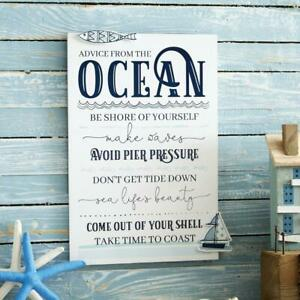 """Nautical Plaque 20 x 30 cm Sign Wall hanging """"Advice From The Ocean"""""""