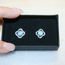Blue Created Opal Diamond Alternatives Huggie Earrings 14k White Gold over 925