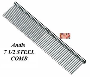 "ANDIS STEEL 7 1/2"" (7.5"") FINE COARSE Greyhound Style COMB*Pet Dog Cat Grooming"