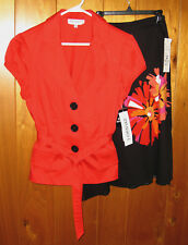 2 Piece Career Suit: Studio I Poppy Red JACKET Black SKIRT Size 10 Flowers Work