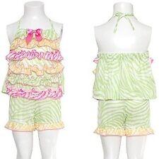 NWT Laura Dare Toddler Girls Pink Yellow Green Zebra Bloomer PJ Set Size 3T