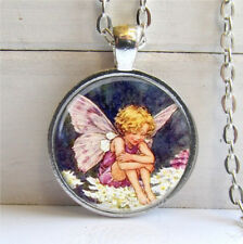 Vintage Cabochon Glass necklace angel girl fairy Silver Charm pendants