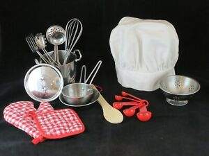 Play Pots and Pans Kitchen Playset Pretend Cookware Mini Stainless Steel Utensil