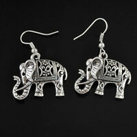 1 Pair Women's Vintage Antique Silver Elephant Drop Dangle Hook Earrings Jewelry