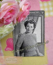 """Vintage 40s Knitting Pattern Lady's Twisted Lace-Look Jumper Fit 36"""" Bust"""