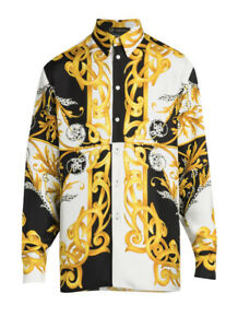 Authentic Versace Baroque Acanthus Printed Long Silk Sport shirt size 42 (16.5)