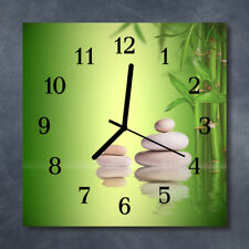 Glass Wall Clock Kitchen Clocks 30x30 cm silent Zen Stones Green