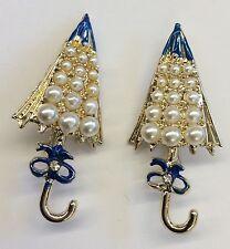 Cute! Vintage 2 Piece Faux Pearl Enamel Goldtone Umbrella Brooches-Original Box!