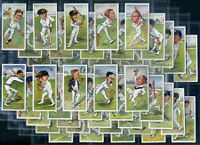 PLAYERS Cigarette Card Set CRICKETERS CARICATURES by RIP 1927 England Australia