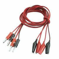 2 Pair Alligator Test Lead Clip to Male Banana Plug Cord Cable 1M Red+Black A3R6