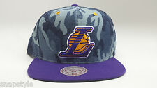 New Mitchell & Ness NBA Snapback Hat - Los Angeles Lakers Camouflage Denim 2T
