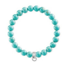 NEW Thomas Sabo Blue Turquoise Stretch Charm Bracelet Sterling Silver 925