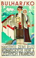 Bulharsko Bulgaria Vintage painting art Travel Poster Print framed canvas
