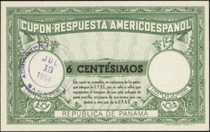 PANAMA, 1954.  U.P.A.E. Reply Coupon 6c, Validated