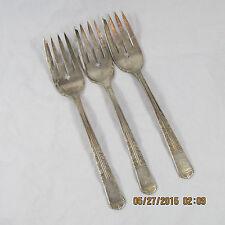 Oneida Royal York Tudor salad forks set 3 floral banded notched tine vintage