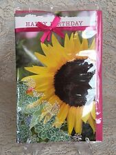 Greeting Card Happy Birthday Card Sunflower Yellow Pink Bow New