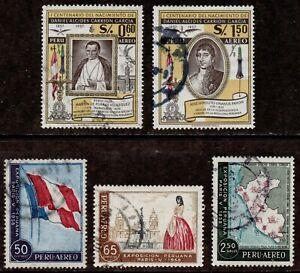 Peru Scott C144,C145,C147,C148,C150 Airmails Used 1958 Issue