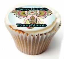 Indian Elephant Birthday Cupcake Toppers x20 Rice Paper or Icing, Personal. 872