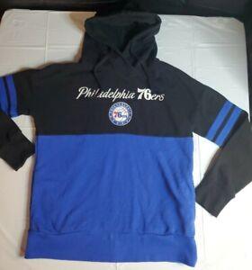 Philadelphia 76ers Hoodie Sweatshirt Blue/Black Medium 90s Long Sleeve vintage