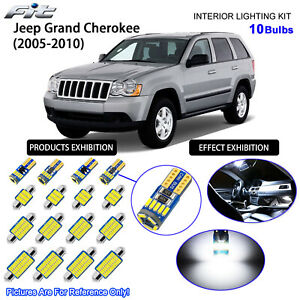 10 Bulbs LED Interior Dome Light Kit Cool White For 2006-2010 Jeep Commander