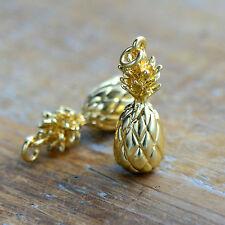 3D Pineapple Charm 24k Gold Plated Pineapple Fruit Hawaii Jewelry Pendant