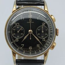 VINTAGE 1940's Omega 33.3 Chronograph Mens 37mm Watch Refinished Black Dial