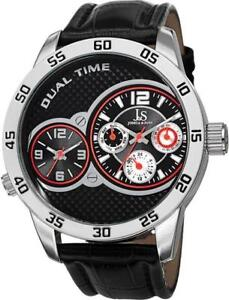 Joshua & Sons JS97SSB Dual Time Day Date GMT Red Accented Mens Watch