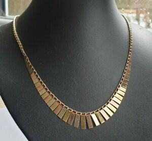 """9ct Yellow Rose & White Gold 16"""" Cleopatra Choker Heavy Chain Mint Boxed No Res"""