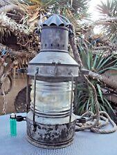 ancienne lanterne de bateau en métal et verre marque Ankerlicht début 20 ème