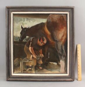JAMES NICHOLSON SHIPLEY American Oil Painting Blacksmith Horse Shoe Farrier NR