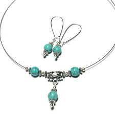 Wire Choker Turquoise Stone Earrings With Extra Long Kidney Wires - Made in UK