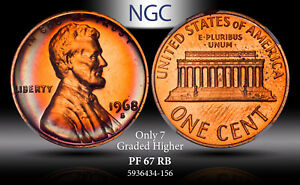 1968-S LINCOLN MEMORIAL U.S 1 CENT NGC PF 67 RB TONED PROOF ONLY 7 GRADED HIGHER