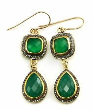 14k Yellow Gold Green Onyx Earrings Champagne Diamonds Pave Double Hung Long