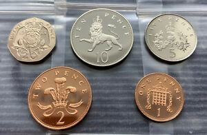 1988 PROOF part set of 5 small coins 1p 2p 5p 10p 20p Royal Mint pence