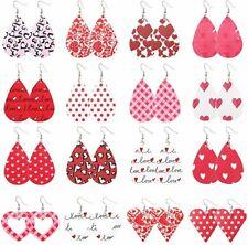 "Faux Leather Teardrop Earrings Lot of 16 Pairs Wholesale Valentine Jewelry 2.28"""