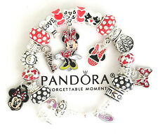 Authentic PANDORA Sterling Silver Bracelet Disney Mickey Minnie European Charms