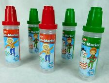 Ideal Snow Sno-Marker Writer Red Green Set of 5 Bottles Winter Fun