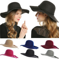 Ladies Wool Felt Fedora Floppy Cloche Wide Brim Cap Bowknot Felt Hats Winter Cap