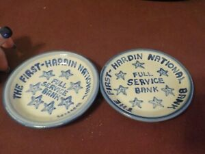 VINTAGE POTTERY PAIR OF DISH/COASTER- THE FRIST-HARDIN NATIONAL BANK- M.A.HADLEY