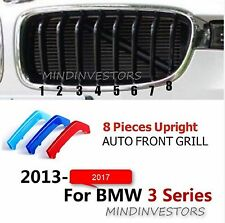 M-Stripe 8 Slats Kidney Grille 3 Colour Cover Clips BMW 3 Series F30 F31 2013-17