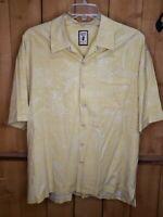 Jamaica Jaxx Textured Floral Yellow Hawaiian Shirt 100% Silk  Men's  2XL XXL