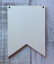 set of 10 laser cut wooden blank unpainted flag bunting garland