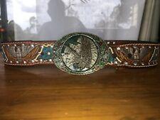 Vintage Pewter Bald Eagle Belt Buckle & Embossed Bald Eagle & Flowers Tan Leathe