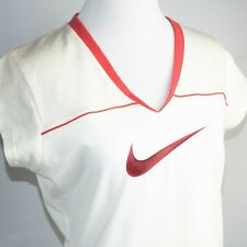 NIKE Women's NWT White Top Cap Sleeve V-Neck White Orange Swoosh Logo Size Med
